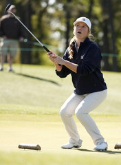 Morgan Goldstein of Las Vegas, Nevada celebrates sinking her putt to win the Girls 12-13 year-old age group during the Drive, Chip and Putt National Finals at the Augusta National Golf Course in Augusta, Georgia