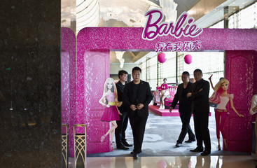 Security guards stand in front of the entrance Barbie global celebrity Hall of Fame in Shanghai