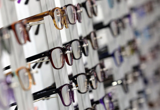Eyeglasses are seen at the Mido exhibition for glasses and eyewear products in Milan