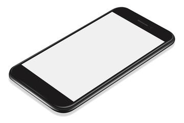 3D illustration Realistic perspective black smartphone mockup on white background