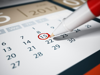 Specific date marked with a rollerball pen. 3D illustration