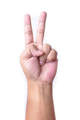 Man's hand making victory sign, isolated on a white background