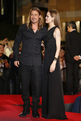Hollywood actor Brad Pitt and actress Angelina Jolie make an appearance before fans in Tokyo