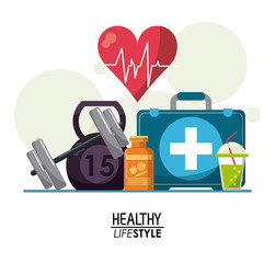 white poster elements with bubbles and heartbeat rhythm with elements sport healthy lifestyle vector illustration