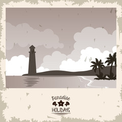 sepia color poster seaside with lighthouse and typography paradise holidays vector illustration