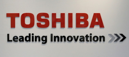 Logo of Toshiba Corp is seen at the company's Hydrogen Energy R&D Center after its media preview in Tokyo