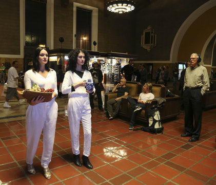 """Two performers from L.A. Dance Project dance during dress rehearsal for experimental opera """"Invisible Cities"""", which is presented inside the historic Los Angeles Union Station in California"""