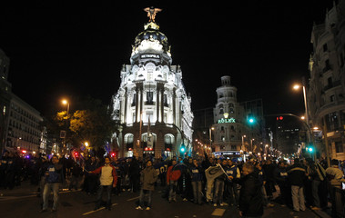 Spanish prisons public workers block Madrid's Gran Via street