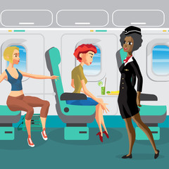 Passengers on the plane during the flight. Woman requests a flig