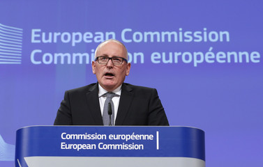 European Commission First Vice-President Frans Timmermans gives a news conference at the European Commission headquarters in Brussels
