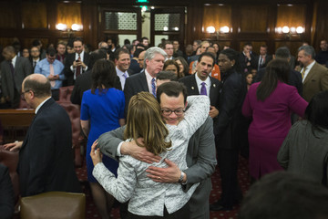 Councilwoman Melissa Mark-Viverito hugs a fellow council member after being elected speaker of the city council inside of City Hall in the Manhattan borough of New York