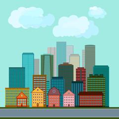 Illustration of city buildings. Vector design.