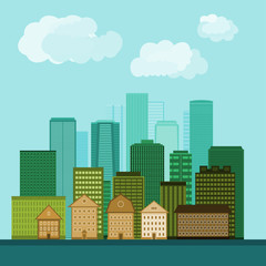 Illustration of city buildings. Vector design.