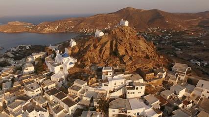 Aerial drone photo of village of Ios island, Cyclades, Greece