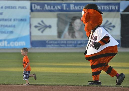 Mascot chases child on baseball diamond in Maryland