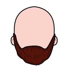 nice man face with beard and bald