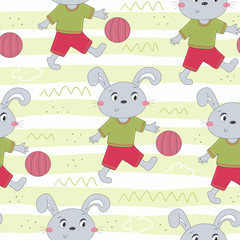 Seamless pattern with cute rabbit. hand drawn vector illustration