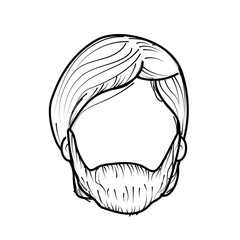 line nice man face with haistyle and beard