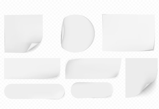 blank white sticky papers  papers set