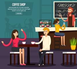 Cafe Worker Flat Composition