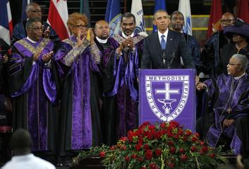 U.S. President Obama speaks during funeral services for the Rev. Clementa Pinckney in Charleston