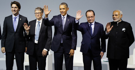 Canadian Prime Minister Trudeau, Microsoft co-founder Gates, US President Obama, French President Hollande and Indian Prime Minister Modi attend a meeting to launch the 'Mission Innovation: Accelerating the Clean Energy Revolution' at Le Bourget