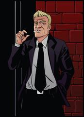 Smoking man on a brick wall background