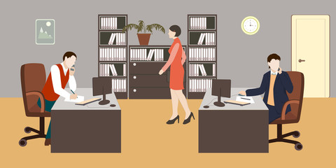 People in room. Office life. Flat style vector illustration. Situation in office. Workplace. Meeting. Men and woman in room. Office interior.