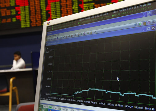 A computer screen shows the rise of the market since the morning opening at the Colombo Stock exchange