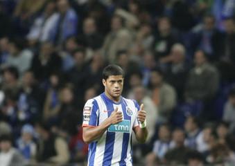 Porto's Hulk celebrates his second goal against Leiria during their Portuguese Premier League soccer match in Porto