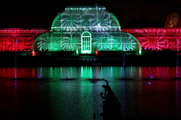 The Palm House is illuminated at a photo-call for the Christmas at Kew Festival in London, Britain