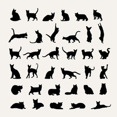 Vector silhouettes of cats on a light gray background