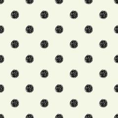 Polka dot sketch seamless pattern. Vector illustration. Retro motif.