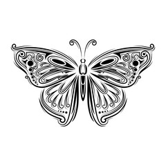 stylized fly butterfly. Creative bohemia concept for wedding invitations, cards, tickets, congratulations, branding, logo, label. Black and white graphic in doodle tangle style for tattoo