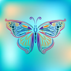 stylized fly butterfly. Creative bohemia concept for wedding invitations, cards, tickets, congratulations, branding, logo, label. outline graphic in doodle tangle style for tattoo in colors