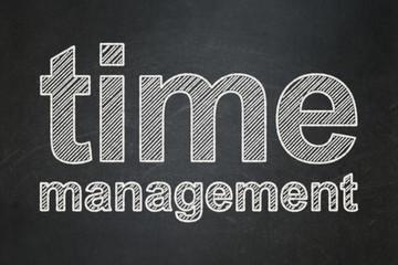 Timeline concept: Time Management on chalkboard background