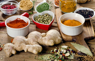Spices on  rustic wooden background