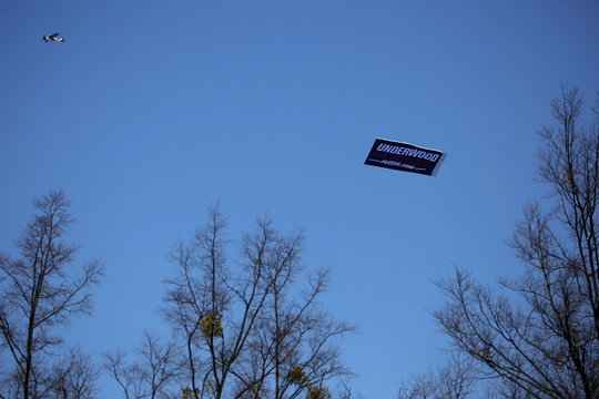 """An airplane pulls an """"Underwood for President"""" banner as it promotes the TV show """"House of Cards"""" as it flies over Greenville, South Carolina"""