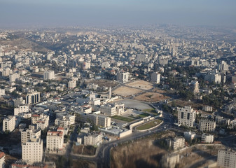 Aerial view of Mukataa, the headquarters of the Palestinian Authority, in the West Bank city of Ramallah