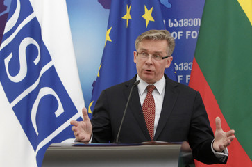The OSCE Chairperson-in-Office, Lithuania's Foreign Minister Azubalis speaks during a news conference in Tbilisi