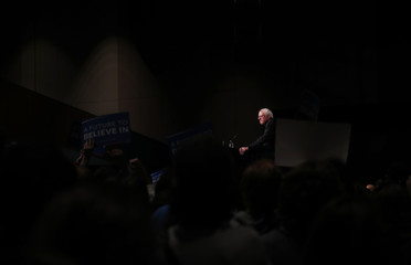 Democratic U.S. presidential candidate Senator Bernie Sanders speaks to supporters on the night of the Michigan, Mississippi and other primaries at a Sanders campaign rally in Miami