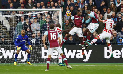 West Ham United's Angelo Ogbonna shoots at goal