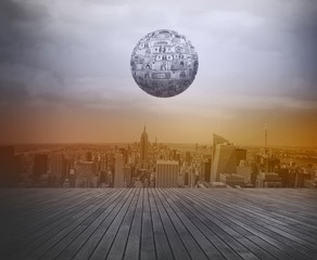 Business growth concept.  Money ball over city background