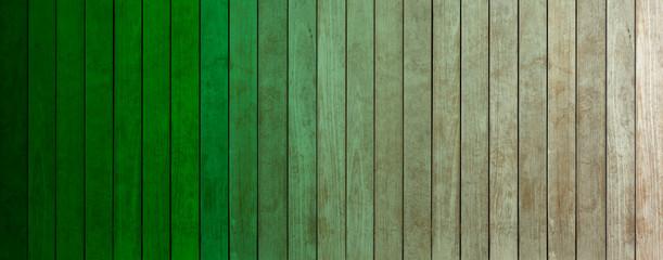 lamelles de bois coloré, dégradés de vert