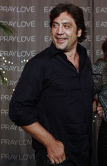 """Actor Javier Bardem poses during the launch of his movie """"Eat Pray Love"""" in Cancun"""