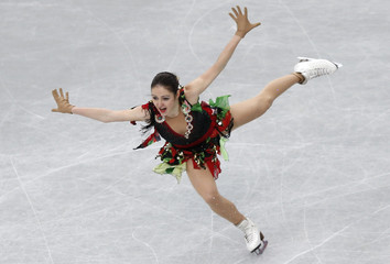 Switzerland's Anna Ovcharova competes during the women's short program at the ISU World Figure Skating Championships in Saitama