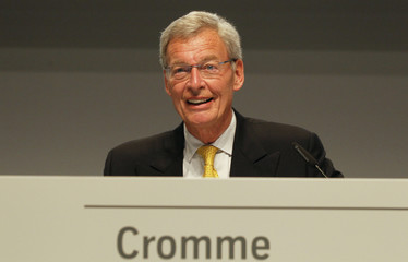 Cromme, chairman of the supervisory board of German steelmaker ThyssenKrupp AG, reacts before the company's annual shareholders meeting in Bochum