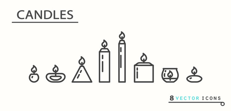 Candles. Set of icons.