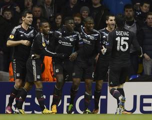 Samuel Umtiti of Olympique Lyonnais celebrates his goal against Tottenham Hotspur during their Europa League soccer match in London