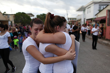 Members of a school band perform during the funeral of Angel Candelario, one of the victims of the shooting at the Pulse night club in Orlando, after he was flown in from Florida to be buried, in his hometown of Guanica